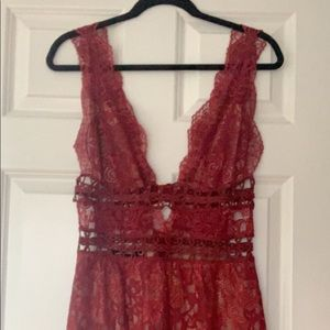 For Love and Lemons Red, Lace Dress
